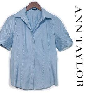 Ann Taylor Button Up Blue/White Stripe Top